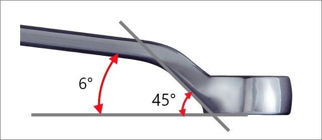 力の掛けやすい45°×6°の立ち上がり角